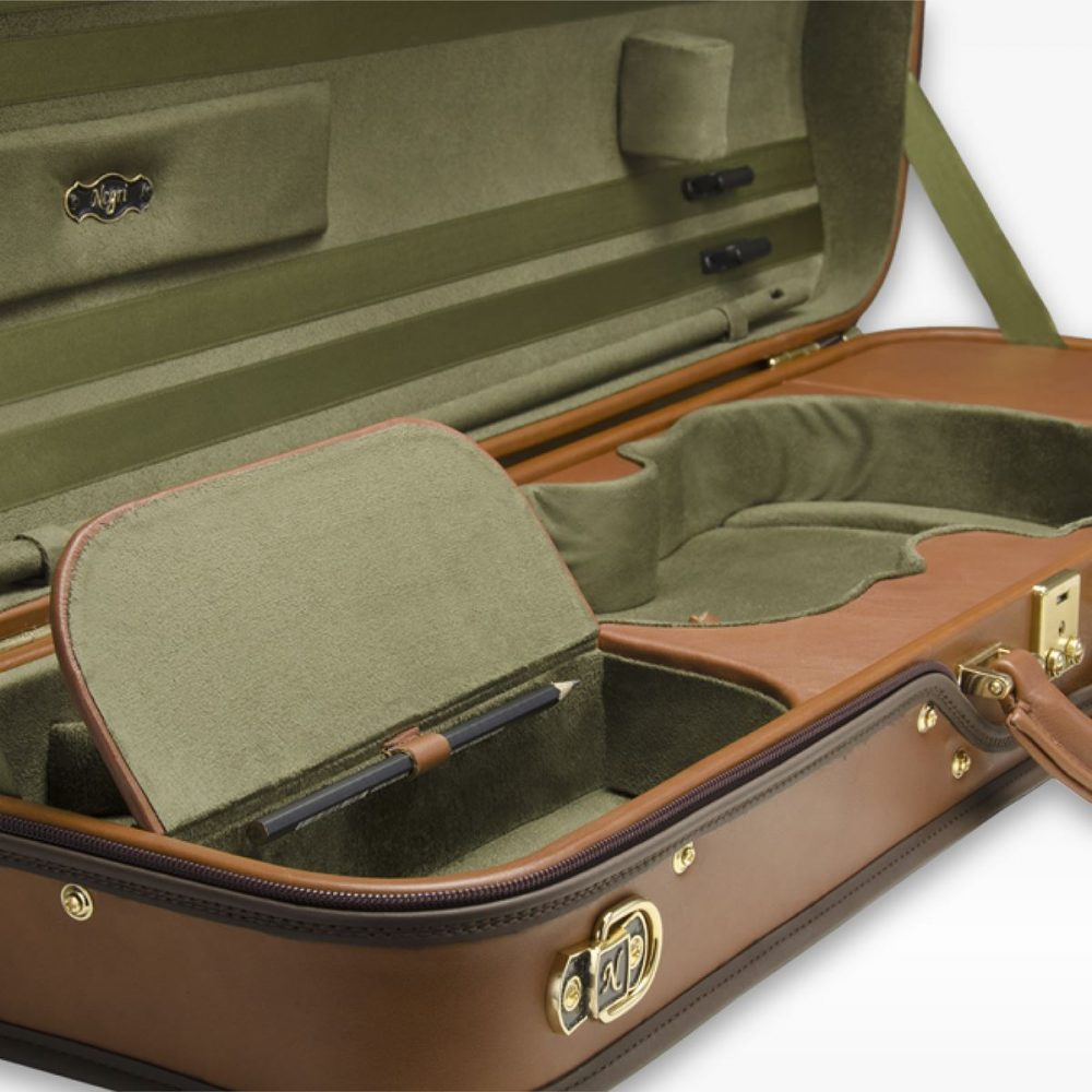 Negri Cases Diplomat Cognac Brown Leather and Olive Green