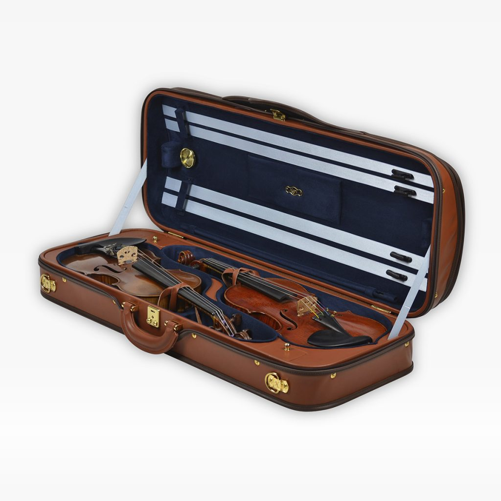 Negri Cases Diplomat Double Cognac Brown Leather and Navy Blue