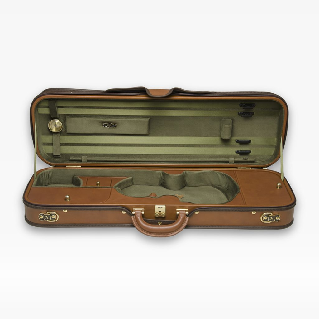 Negri Cases Diplomat Viola Cognac Brown Leather and Olive Green